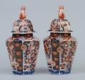 Pair Imari Porcelain Vases & Lids