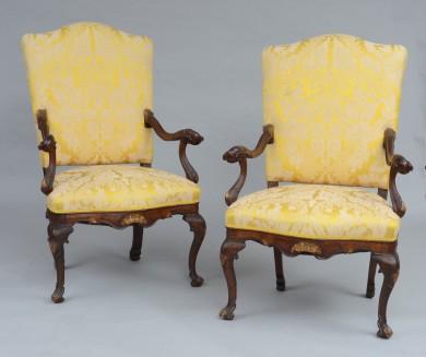 Superb Pair Italian Venetian Baroque Walnut Armchairs, 18th Century