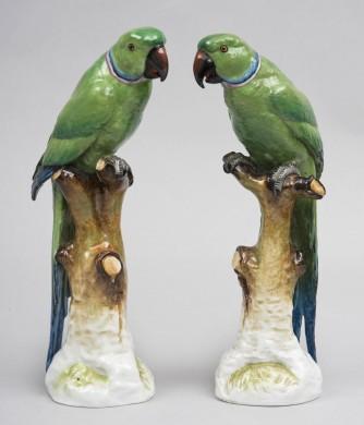 Pair Porcelain Parrots
