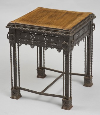 Antique Iron and Wood Low Table