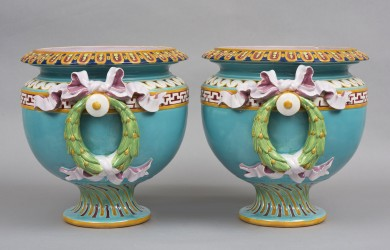 Pair Large Minton Majolica Jardiniers, Marks for 1883 & 1884