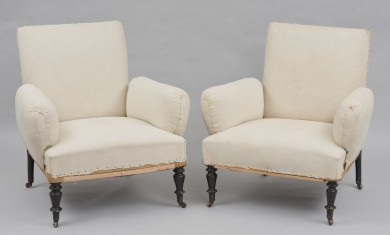 Pair Unusual Antique French Napoleon III Small Armchairs with Detached Arms