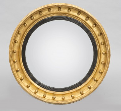 Antique English Regency Convex Mirror