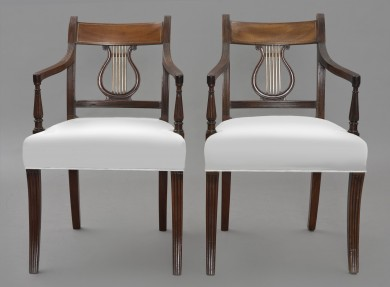 Pair English Regency Period Lyre-Back Armchairs, Circa 1810
