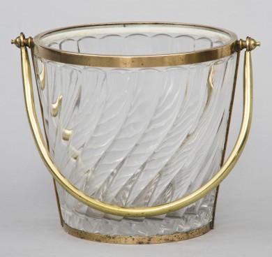 French Glass Ice Bucket, Circa 1940