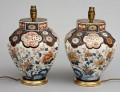 Antique Pair Imari Vase Lamps, Circa 1840
