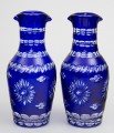 Pair Cobalt Blue Cut-Glass Decanters
