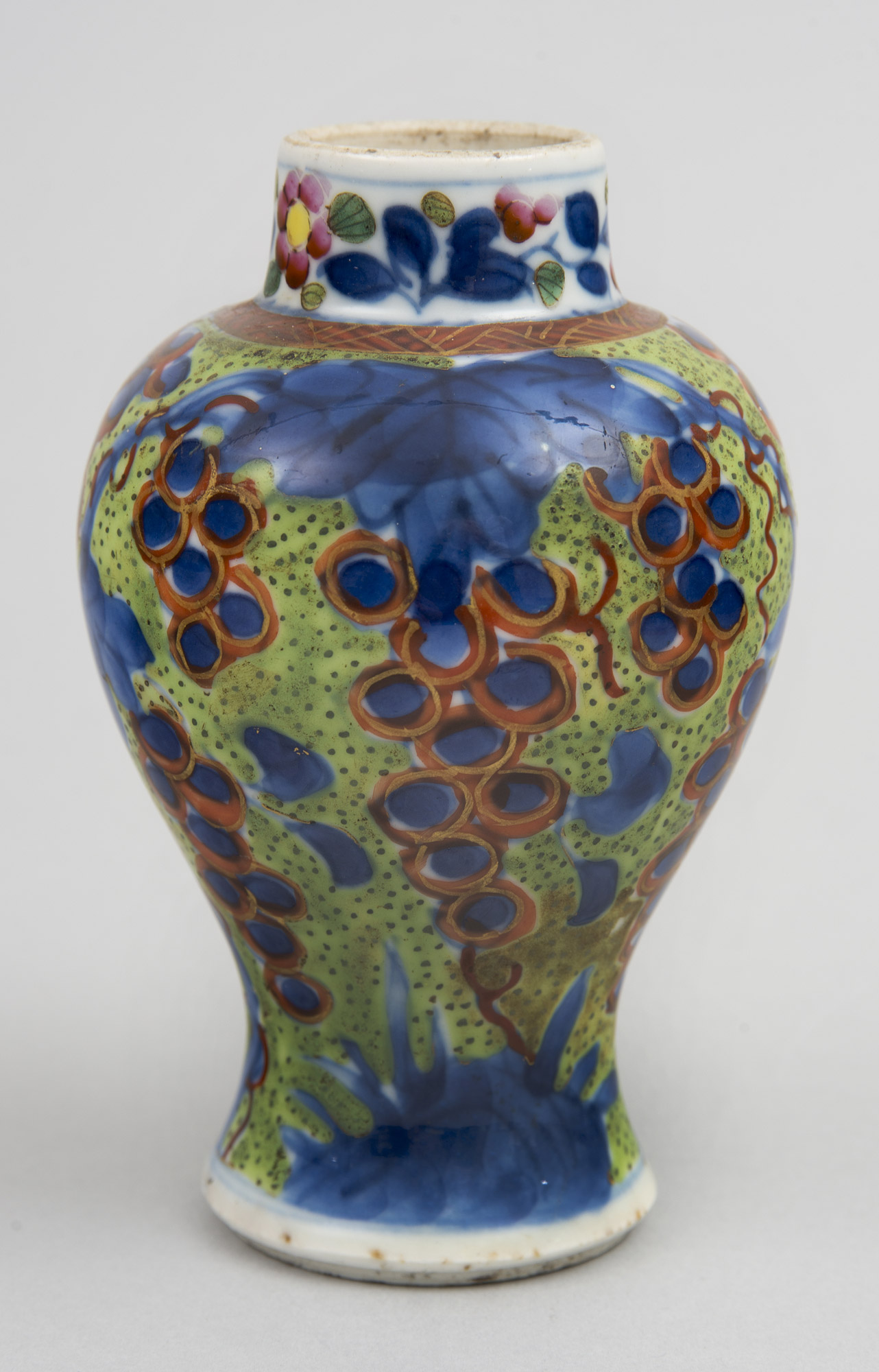 Small Chinese Qianlong Period Clobbered Vase Circa 1770