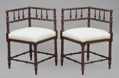 Pair Mahogany Corner Chairs, Circa 1860