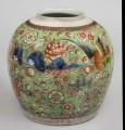 Chinese Blue & White Clobbered Jar, Green Background, Circa 1780