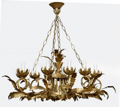 French Gilded Ten-Light Chandelier