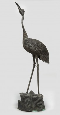 Japanese Meiji Period Bronze Crane