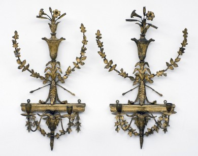 18th Century Pair of Adam Gilded Wall Sconces