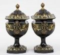 Regency Period Pair Tole Chesnut Urns, Circa 1810