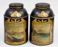 Pair Scottish Tole Tea Canisters, Circa 1850