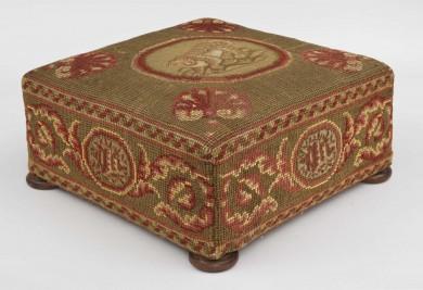 Victorian Needlework Footstool
