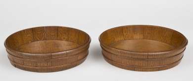 Pair of Oak Round Coopered Trays, Circa 1890