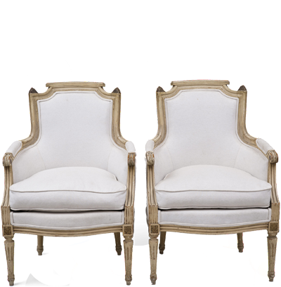 Pair French Louis XVI Style Bergeres