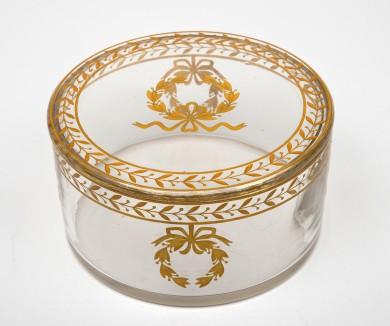 French Round Gilded Glass Box, Circa 1880