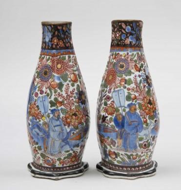 Pair of Chinese Clobbered Wall Pockets, Circa 1780