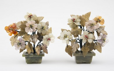 Pair Chinese Hard Stone Flowers in Pots