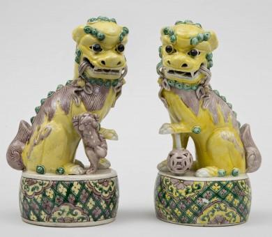 Pair Chinese Yellow Foo Dogs