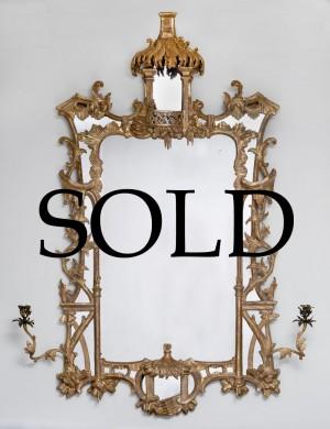 Chippendale Period Giltwood Girondole Pier Mirror