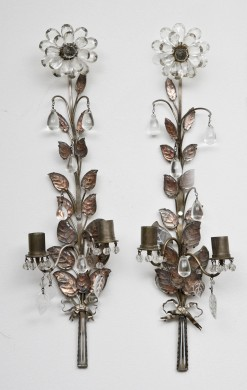 Pair French Crystal and Metal Wall Sconces