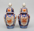 Pair of Large Imari Vases with Lids, Circa 1890