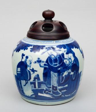 Chinese Porcelain Blue and White Squat Vase, Circa 1850