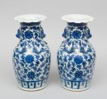 Pair Chinese Blue and White Open Vases, Circa 1870