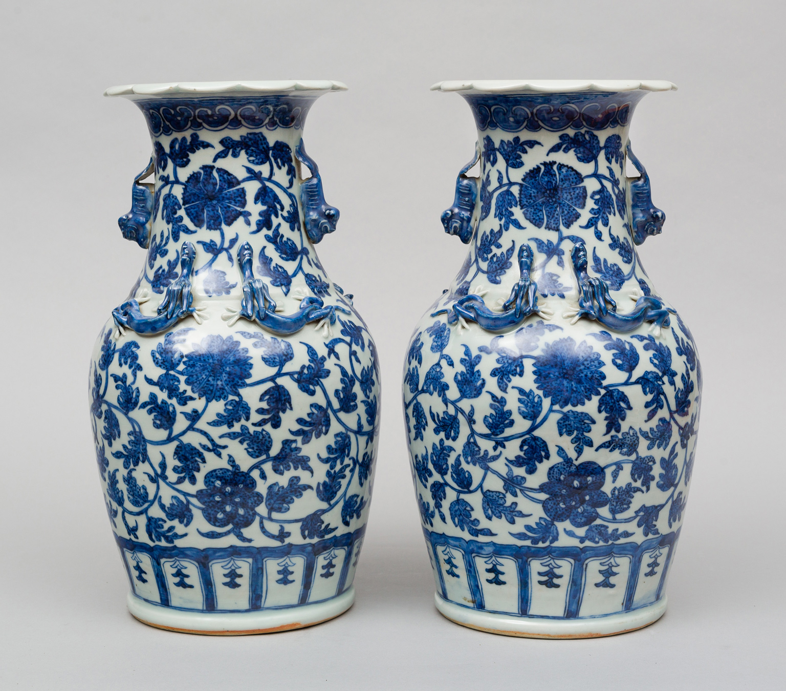 Pair Chinese Blue And White Open Vases Circa 1870