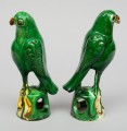 Pair of Chinese Green Parrots, Circa 1880