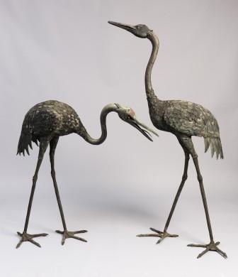 Pair of Meiji Period Japanese Cranes
