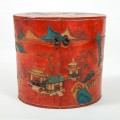 Antique Chinese Red Lacquer Leather Hat Box