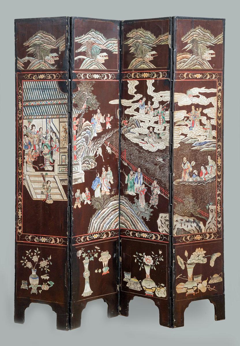 Antique Chinese Coromandel Lacquer Four-Panel Folding