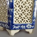 Pair Chinese Blue and White Pierced Night Lanterns