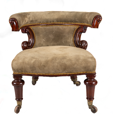 William IV Mahogany and Suede Desk Armchair