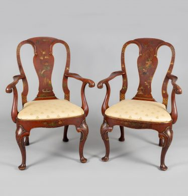 Waldorf Astoria George I Style Chinoiserie Armchairs, A Pair