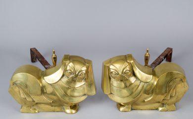 Pair Art Deco Brass Pekinese Dog Andirons