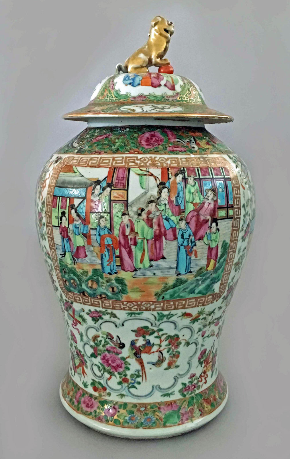 Antique Chinese Large Famille Rose Vase With Lid Circa 1830
