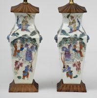 Pair of Chinese Export Famille Rose Vase Lamps