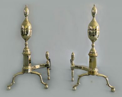 American Brass Double Lemon Top Andirons