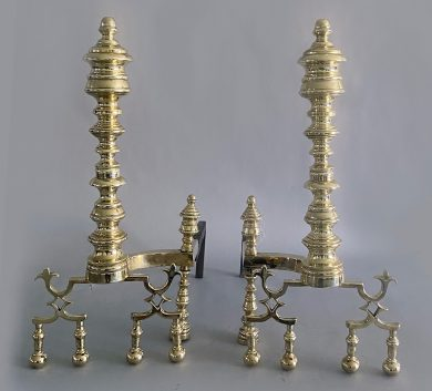 Pair of American Empire Brass Andirons