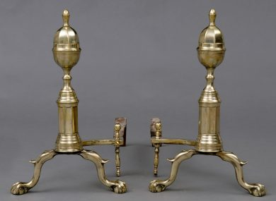 Antique American Brass Andirons, Circa 1820