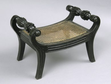 Antique Anglo-Indian Carved Ebony Footstool