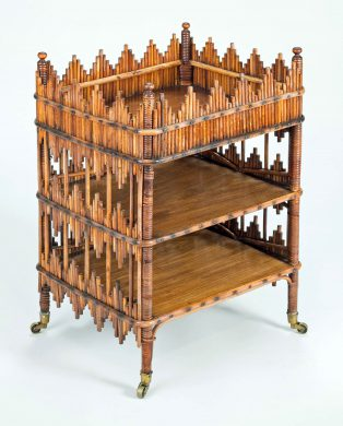 Antique Bamboo Three-Tiered End or Side Table