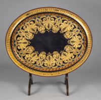 English Black Lacquered & Parcel Gilt Tray on Stand