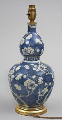 Antique Chinese Double Gourd Vase Lamped, Circa 1860