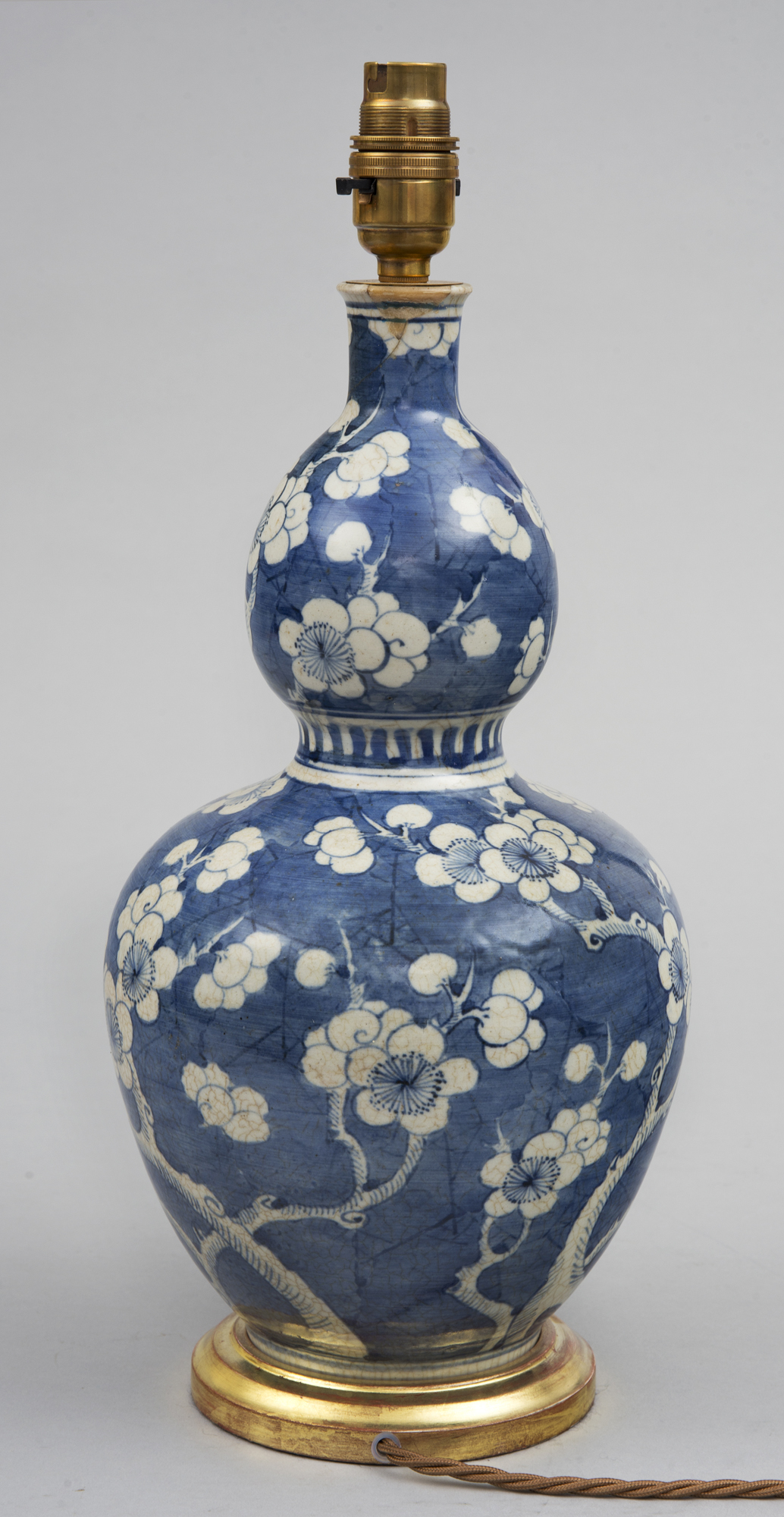 Antique Chinese Double Gourd Vase Lamped Circa 1860
